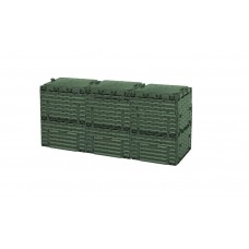Компостер садовый 900л Piteco с крышкой K2130, K2030 зелёный (из 3-х мест)