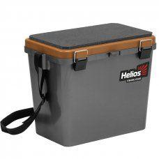 Ящик рыболовный зимний Helios двухсекционный 19л серый/золото (HS-IB-19-GGo)