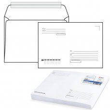 Конверты почтовые С4 отрывная полоса, Куда-Кому, внутренняя запечатка, 50 шт