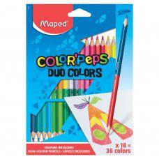 Карандаши цветные трехгранные двусторонние Maped Color'Peps 36 цветов 18 шт 829601