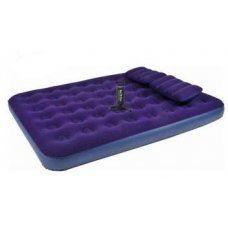 Надувная кровать Relax Flocked air bed QUEEN  насос+2подушки 21470