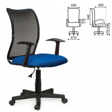 Кресло оператора Brabix Spring MG-307 сетка/ткань, черно-синее TW 531404